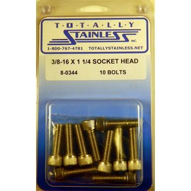 "Totally Stainless 3/8-16 x 1-1/4 "" Stainless Socket Head Bolts"