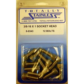 "Totally Stainless 3/8-16 x 1"" Stainless Socket Head Bolts"