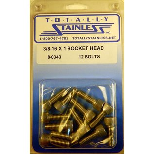 """Totally Stainless 3/8-16 x 1"""" Stainless Socket Head Bolts"""