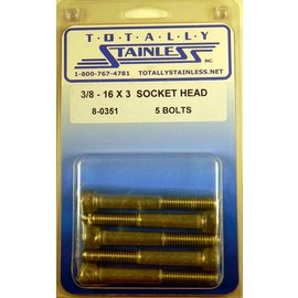 "Totally Stainless 3/8-16 x 3"" Stainless Socket Head Bolts"