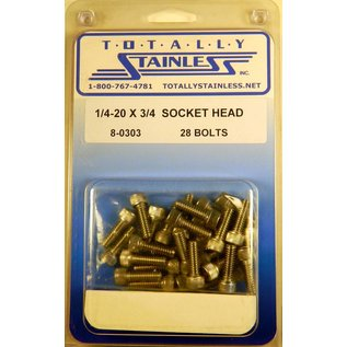 "Totally Stainless 1/4-20 x 3/4"" Stainless Socket Head Bolts"