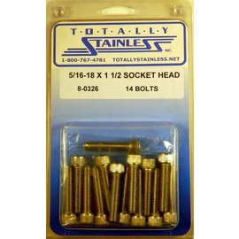 "Totally Stainless 5/16-18 x 1-1/2"" Stainless Socket Head Bolts"