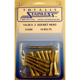 "Totally Stainless 1/4-20 x 2"" Stainless Socket Head Bolts"