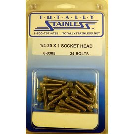 Totally Stainless 1/4-20 x 1 Socket Head Bolts - Panel 8 (C4) - #8-0305
