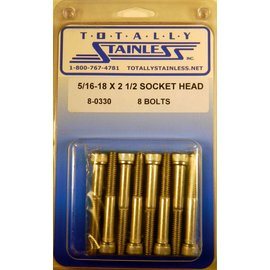 Totally Stainless 5/16-18 x 2-1/2 Socket Head Bolts- Panel 8 (E4) - #8-0330