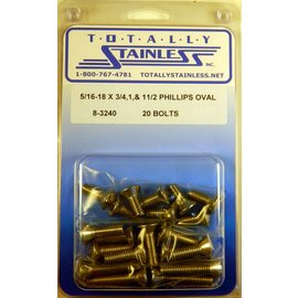 Totally Stainless 5/16-18 Stainless Assorted Philips Oval Head Bolts