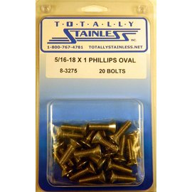 "Totally Stainless 5/16-18 x 1"" Stainless Phillips Oval Head Bolts"