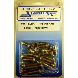 "Totally Stainless 5/16-18 x 3/4, 1 & 1-1/2"" Stainless  Phillips Pan Head Bolts"