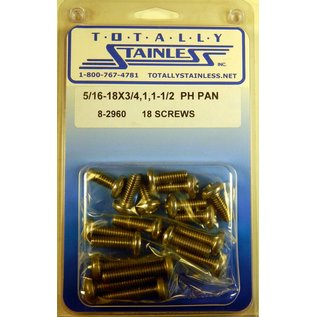 """Totally Stainless 5/16-18 x 3/4, 1 & 1-1/2"""" Stainless  Phillips Pan Head Bolts"""
