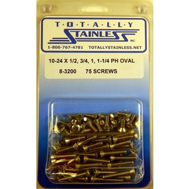 Totally Stainless 10-24 x 1/2, 3/4, 1 & 1-1/4  Phillips Oval Head Machine Screws - Panel 9 - #8-3200