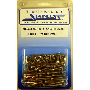 "Totally Stainless 10-24 x 1/2, 3/4, 1 & 1-1/4"" Stainless  Phillips Oval Head Machine Screws"