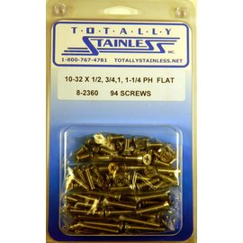 "Totally Stainless 10-32 x 1/2, 3/4, 1-1/4"" Stainless  Phillips Flat Head Machine Screws"