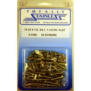 """Totally Stainless 10-32 x 1/2, 3/4, 1-1/4"""" Stainless  Phillips Flat Head Machine Screws"""