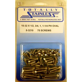Totally Stainless 10-32 x 1/2, 3/4, 1 & 1-1/4  Phillips Oval Machine Screws - Panel 9 - #8-3210