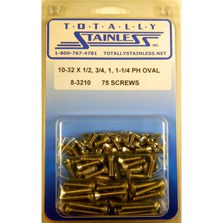 """Totally Stainless 10-32 x 1/2, 3/4, 1 & 1-1/4"""" Stainless  Phillips Oval Machine Screws"""