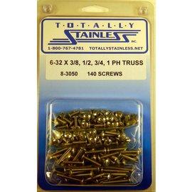 "Totally Stainless 6-32 x 3/8. 1/2, 3/4, & 1"" Stainless  Phillips Truss Heas Machine Screws"