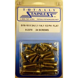 Totally Stainless 5/16-18 x 3/4, 1, 1-1/2  Phillips Flat Head Bolts - Panel 9 - #8-2370