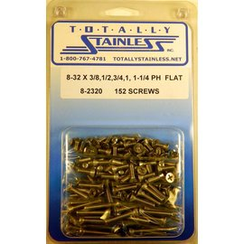 Totally Stainless 8-32x3/8,1/2,3/4,1,1-1/4  Phillips Flat Head Machine Screws - Panel 9 - #8-2320