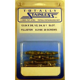 "Totally Stainless 12-24 x 3/8, 1/2, 3/4 & 1"" Stainless  Slotted Fillister Head Machine Screws"