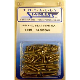 Totally Stainless 10-24 x 1/2, 3/4, 1-1/4  Phillips Flat Head Machine Screws - Panel 9 - #8-2350