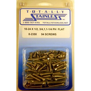 "Totally Stainless 10-24 x 1/2, 3/4 & 1-1/4"" Stainless  Phillips Flat Head Machine Screws"
