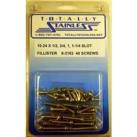 "Totally Stainless 10-24 x 1/2, 3/4 & 1-1/4"" Stainless  Slotted Fillister Head Machine Screws"