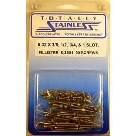 "Totally Stainless 6-32 x 3/8, 1/2, 3/4 & 1"" Stainless  Slotted Fillister Head Machine Screws"
