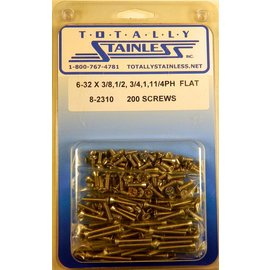 "Totally Stainless 6-32 x 3/8,1/2,3/4 & 1"" Stainless  Phillips Flat Head Machine Screws"