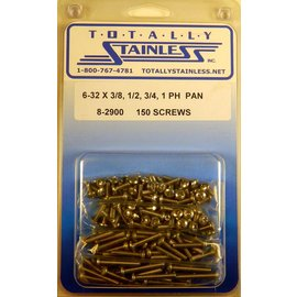 "Totally Stainless 6-32 x 3/8, 1/2, 3/4, & 1"" Stainless  Phillips Pan Head Machine Screws"