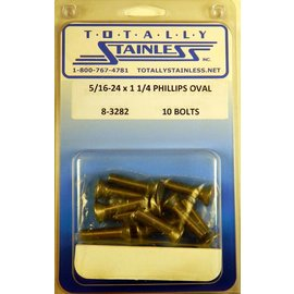 "Totally Stainless 5/16-24 x 1-1/4"" Stainless  Phillips Oval Head Bolts"