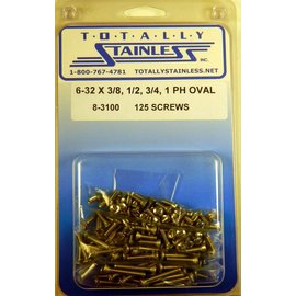 "Totally Stainless 6-32 x 3/8, 1/2, 3/4, & 1"" Stainless  Phillips Oval Head Machine Screws"