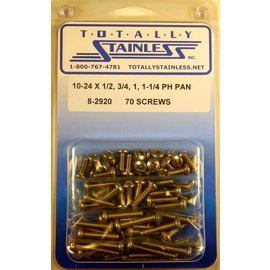 "Totally Stainless 10-24 x 1/2, 3/4, 1 & 1-1/4"" Stainless  Phillips Pan Head Machine Screws"