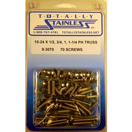 "Totally Stainless 10-24 x 1/2, 3/4, 1 & 1-1/4"" Stainless  Phillips Truss Head Machine Screws"