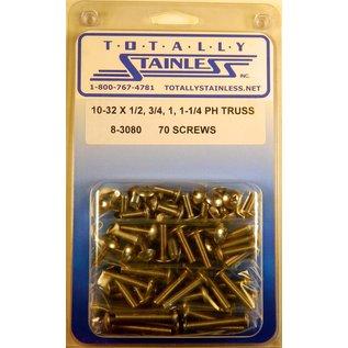 "Totally Stainless 10-32 x 1/2, 3/4, 1 & 1-1/4"" Stainless  Phillips Truss Head Truss Head Machine Screws"