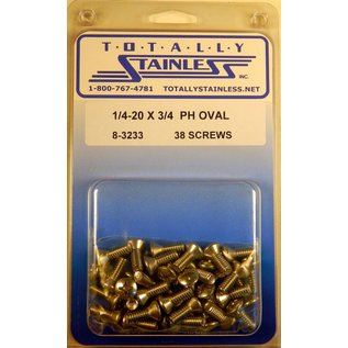 """Totally Stainless 1/4-20 x 3/4"""" Stainless Phillips Oval Head Bolts"""