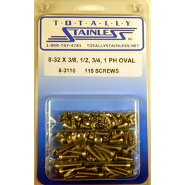"Totally Stainless 8-32 x 3/8, 1/2, 3/4, & 1"" Stainless  Phillips Oval Head Machine Screws"
