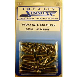 """Totally Stainless 1/4-20 x 1/2, 1 & 1-1/2"""" Stainless  Phillips Pan Head Bolts"""