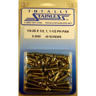 "Totally Stainless 1/4-20 x 1/2, 1 & 1-1/2"" Stainless  Phillips Pan Head Bolts"