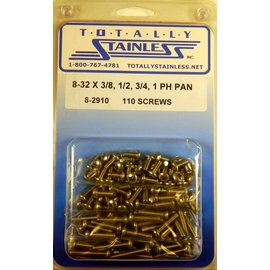 "Totally Stainless 8-32 x 3/8, 1/2, 3/4, & 1"" Stainless  Phillips Pan Head Machine Screws"