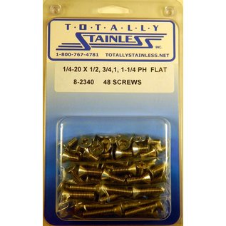 """Totally Stainless 1/4-20 x 1/2, 3/4 & 1-1/4"""" Stainless  Phillips Flat Head Bolts"""
