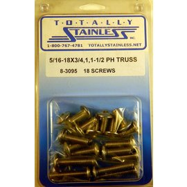 "Totally Stainless 5/16-18 x 3/4, 1 & 1-1/2"" Stainless  Phillips Truss Head Bolts"