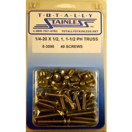 "Totally Stainless 1/4-20 x 1/2, 1 & 1-1/2"" Stainless  Phillips Truss Head Bolts -"