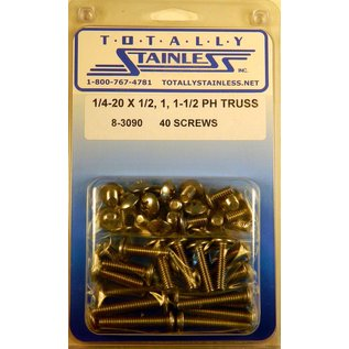 "Totally Stainless 1/4-20 x 1/2, 1 & 1-1/2"" Stainless  Phillips Truss Head Bolts"