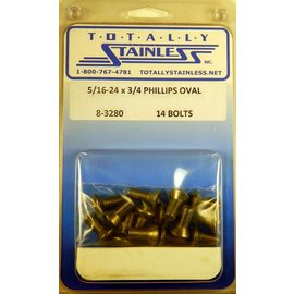 "Totally Stainless 5/16-24 x 3/4"" Stainless  Phillips Oval Head Bolts"