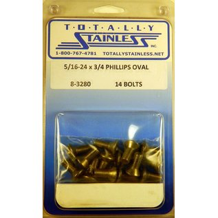 """Totally Stainless 5/16-24 x 3/4"""" Stainless  Phillips Oval Head Bolts"""