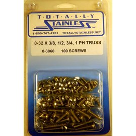 "Totally Stainless 8-32 x 3/8. 1/2, 3/4, & 1"" Stainless  Phillips Truss Head Machine Screws"
