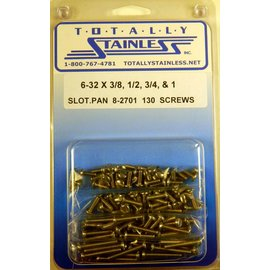 Totally Stainless 6-32 x 3/8, 1/2, 3/4, 1 Slotted Pan Head Machine Screws  (B3) - Panel 10 - #8-2701