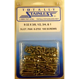 "Totally Stainless 8-32 x 3/8, 1/2, 3/4 & 1"" Stainless Slotted Pan Head Machine Screws"