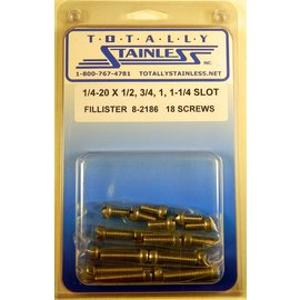 "Totally Stainless 1/4-20 x 1/2, 3/4 & 1-1/4"" Stainless Slotted Fillister Head Machine Screws"