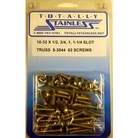 "Totally Stainless 10-32x1/2, 3/4, 1 & 1-1/4"" Stainless Slotted Truss Head Machine Screws"